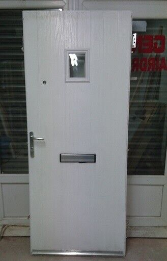 White composite front door with locks /& keys and spy holes