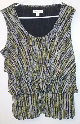 COLDWATER CREEK BLACK YELLOW GREEN MESH TIE DYE TANK TOP SHIRT EUC M 10-12 (L)