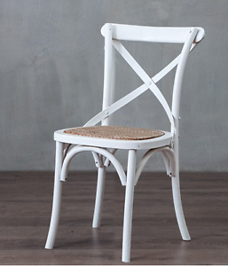 1  ELM CROSS-BACK MATT WHITE DINING CHAIRS, FRENCH COUNTRY STYLE Port Melbourne Port Phillip Preview