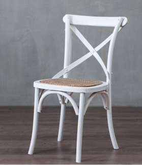 1  ELM CROSS-BACK MATT WHITE DINING CHAIRS, FRENCH COUNTRY STYLE