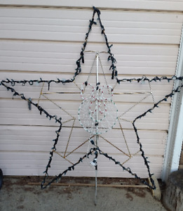 CHRISTMAS LIGHTED STAR ROOFTOP ANTENNA MAST