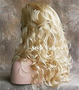 Blonde Mix 3/4 Wig Fall  Hair Piece Wavy Long and Layered