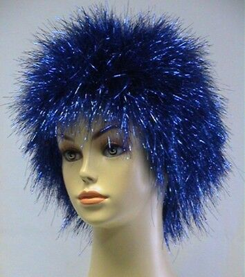 80S ADULT BLUE PINK RED TINSEL SPIKE SPIKY AFRO ROCK PUNK POP STAR COSTUME WIG ](Tinsel Wigs)