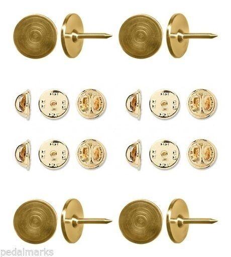 12 Gold TIE TACKS + Back Lapel ~ Scatter Pins 9.5mm pad x 10.5mm post STEEL Tacs