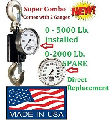 Sherline Hydraulic Suspended Scale Combo 0-5000 Lb. Installed 0-2000 Lb. Spare.