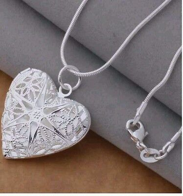 STAMPED 925 silver heart pendant necklace photo frame GIRL LOVERS FRIEND GIFT BG ()