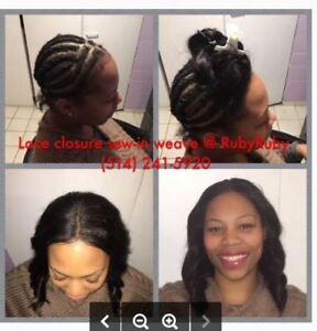 """Tissage avec lace closure """"sans colle""""_Hair extensions"""