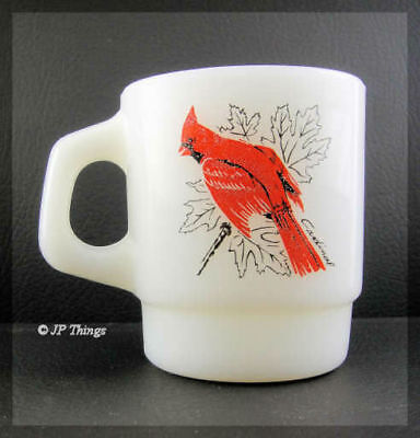 (Fire King Stacking Mug Song Birds of America Cardinal Blue Jay)