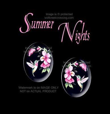 SUMMER NIGHTS HUMMINGBIRD EARRINGS HUMMING BIRD ART POST STUD PIERCED FREE SHIP