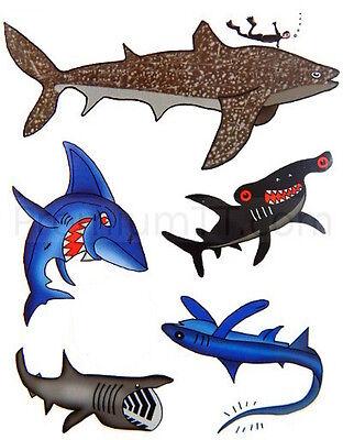 Shark Temporary Tattoos - 6 sheets (30 tattoos) Fake Tattoo - Great White, - Shark Tattoos