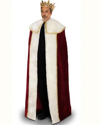 King Crown Halloween Costume (Rhinestone Men Gold Crown King Faux Fur Cloak Medieval Halloween Theater)