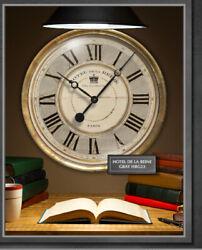 Large 23 in. Grand Hotel de la Reine Gray Designer Wall Clock w/ Glass, Pendulum