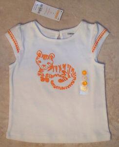 NWT-3T-3-Years-Gymboree-BATIK-SUMMER-White-Embroidered-Orange-Tiger-Shirt-Top