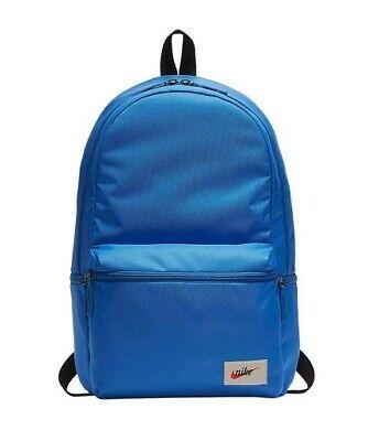 New Nike Heritage Blue Black Rucksack Backpack School 26 Litres Travel Gym Bag