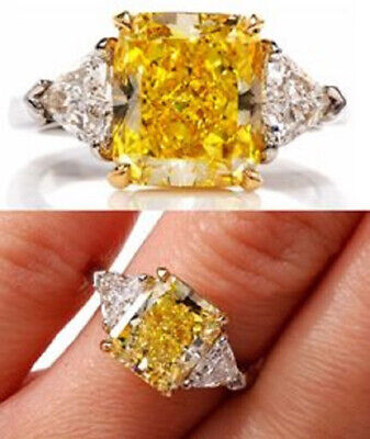 2.20 ct. Fancy Yellow Radiant Cut w/ Trillion Diamond Engagement Ring GIA 18k 1
