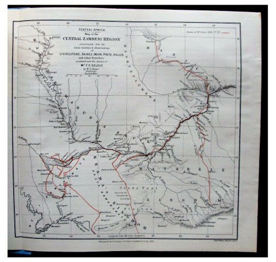 1881 Selous - ZAMBEZI - Manica Country - CHOBE RIVER - Route Map - Wrappers 3