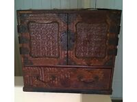 Antique Japanese small cabinet cupboard chest Tansu Kodansu very old for restoration wood lacquer