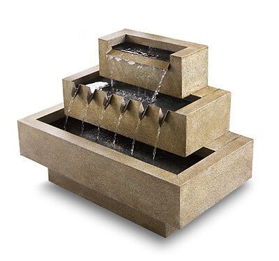 3 Tier Sand Water Feature Fountain Indoor Table Top Cascade Cube Steel Garden