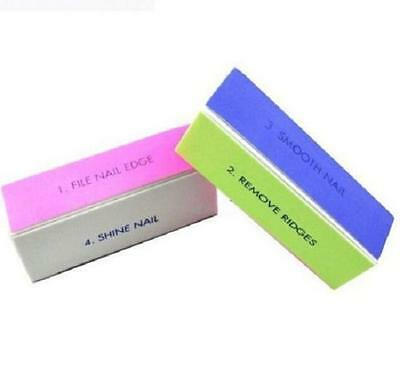 (Professional Womens 4 Way Nail File Buffer Polishing Block Four Art Smooth Shine)