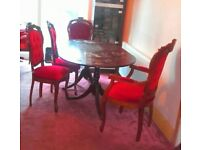 Long Stylish Dining Table + 6 chairs. Dark Polished Wood. Deep Velvet Material. Louis XV style.