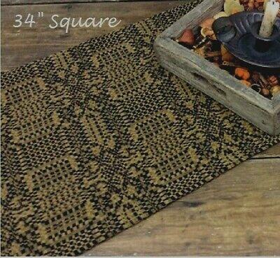 """Primitive TABLE TOPPER MOUNT VERNON BLACK MUSTARD 34"""" Square Farmhouse Country"""