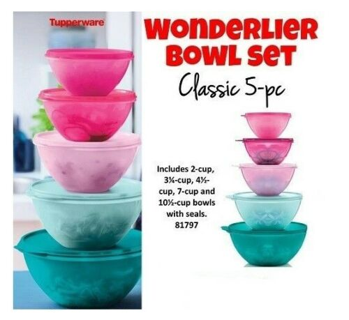 Tupperware CLASSIC WONDERLIER BOWL SET of 5 ~ All Purpose Bowls ~ BRAND NEW!