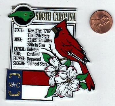 NORTH CAROLINA  STATE MONTAGE FACTS MAGNET with state  bird  flower  and flag,