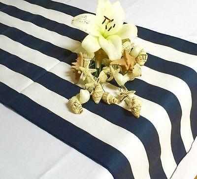 lovemyfabric 2 Inch Navy Blue & White Striped Satin 12