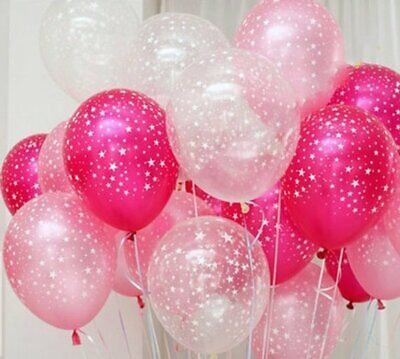 Light Pink Balloons (Light Pink and White Star Latex Balloons 12