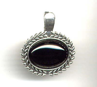 Genuine ONYX Pendant ENHANCER for Peal Necklace w Hinged Clasp *Antique Silver