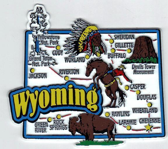 WYOMING   STATE MAP JUMBO MAGNETS 7 COLOR   NEW USA  CASPER CHEYENNE YELLOWSTONE
