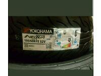 Yokohoma 195 50 15 82v slick tyres brand new, set of 4