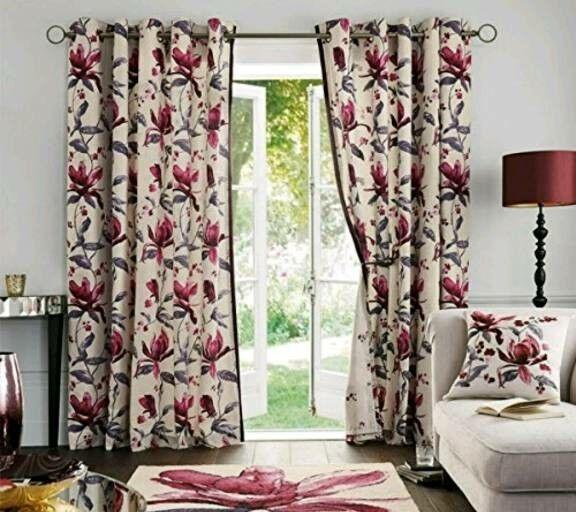 NEXT beautiful velvet trim watercolour curtains