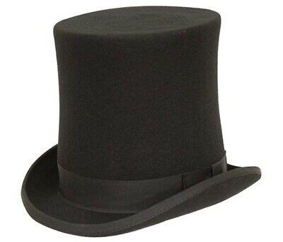 Brand New Men's Formal Tall Stove Pipe 100% Wool Classic 7.5 inch Black Top Hat ()