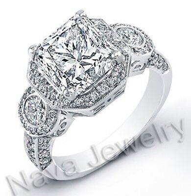 2.81 Ct Princess Cut Diamond Engagement Bridal Ring GIA