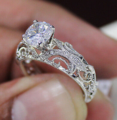 1.01 Ct. Natural Round Cut Scroll Milgrain Diamond Engagement Ring GIA Certified 2