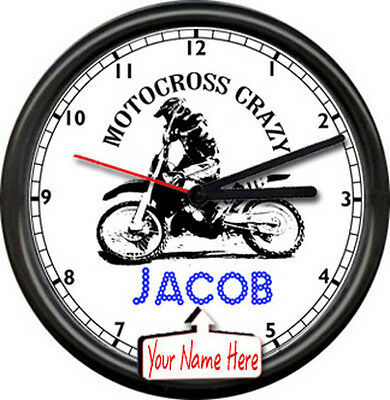 Motocross Motorcycle Gear Thumper Racing Bike Personalized Sign Wall Clock