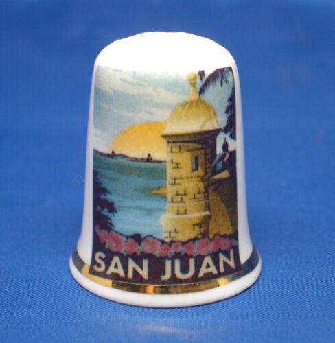 Birchcroft China Thimble - Travel Poster Series - San Juan  - Free Dome Box