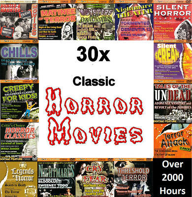 30x Cult Classic Horror Movies on 15 DVDs - over 2000 Hours Vintage Scary - NEW (Classic Halloween Movies Scary)