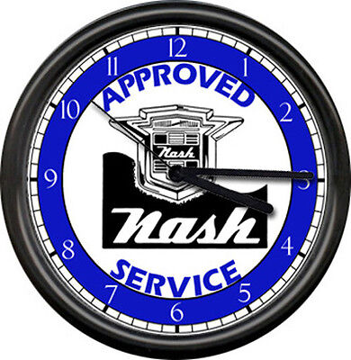 Nash Automobile Retro Vintage Logo Sales Service Parts Dealer Sign Wall Clock