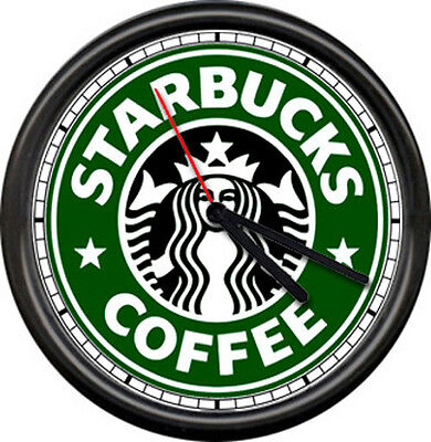 Starbucks Coffee Latte Espresso Shop Stand Drive Through Cafe Sign Wall Clock