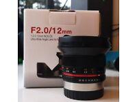 Fuji X 12mm F2 Samyang wide angle lens, for Fujifilm