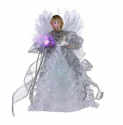 White and Silver Fiber Optic Light Up Angel Christmas Tree Topper UL1984 New