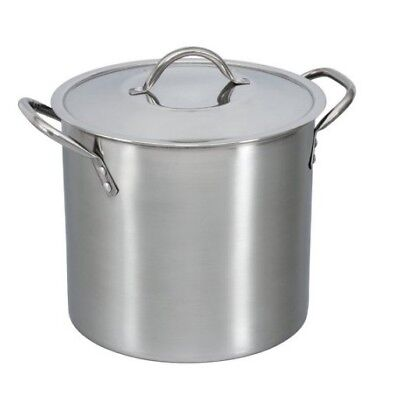 Stainless Steel 8 Quart Stock Pot Durable Safe Metal Lid Stay Cool NEW