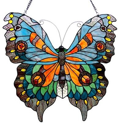 "Tiffany Stained Glass Panel ""Swallowtail Butterfly"""
