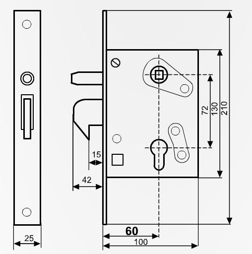 413422 Einsteckschloss mit Schlosskasten DIN 72 mm für 40er Kastenprofil
