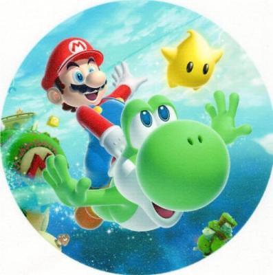 Mario und  Yoshi Tortenaufleger Tortenbild Super Mario Bros WAFFEL rund Aufleger ()