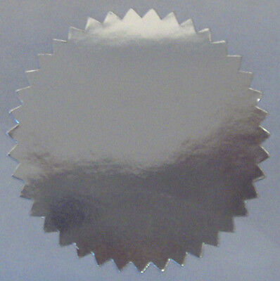 Shiny Silver Foil Notary Certificate Seals 2.25 Inch Burst Roll Of 100 Seals