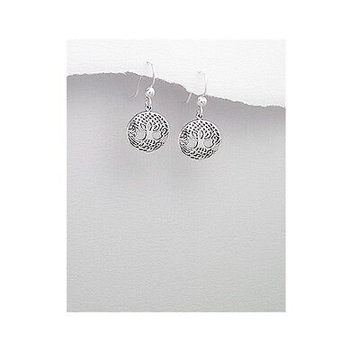 Celtic Weave Tree of Life Sterling Silver Round Dangle Earrings