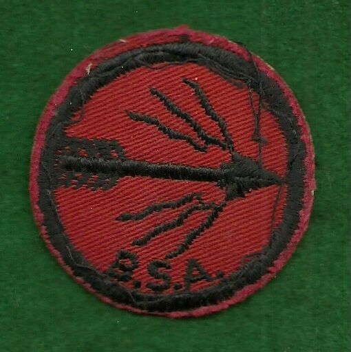VINTACE BOY SCOUT - RED & BLACK FLAMING ARROW PATROL PATCH